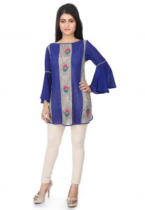 Embroidered Georgette Tunic in Blue