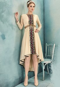 Embroidered Georgette Tunic in Light Beige