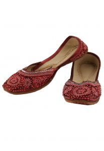 Embroidered Leather Mojari in Red