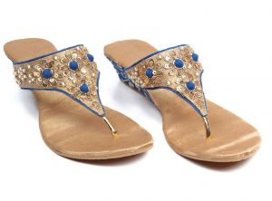Embroidered Leather Wedge Sandal in Golden and Blue