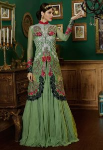 Embroidered Net Jacket Style Lehenga In Green