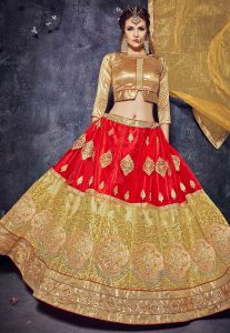 Embroidered Net Lehenga in Red and Beige