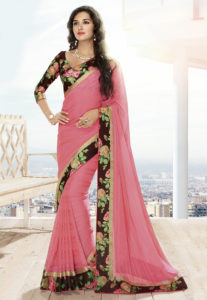 floral-printed-border-saree