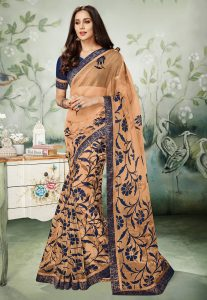 Foil Printed Tissue Saree In Peach