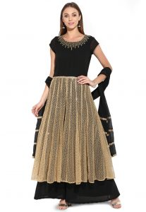 Black Anarkali Suits With Sequins Work