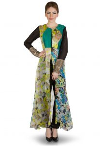 Front Slit Hand Embroidered Viscose Tunic in Multicolor