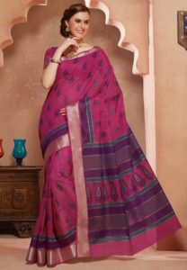 fuchsia-cotton-saree