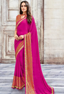 fuschia-saree