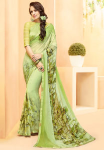 green-georgette-saree