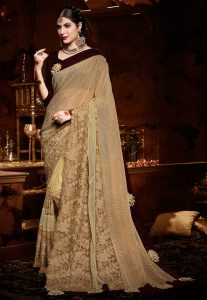 Beige Thread Work Saree