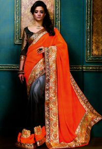 Half Half Saree With Embroidery