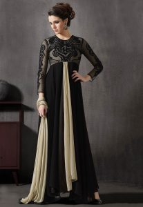 Embroidered Georgette and Net Abaya Style in Black