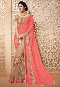 Half N Half Satin Chiffon and Net Saree in Peach and Beige