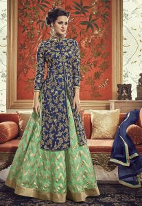 Hand Embroidered Combo Art Silk Lehenga in Pastel Green and Blue
