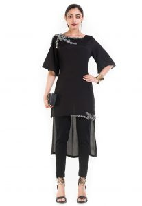 Hand Embroidered Crepe High Low Tunic in Black