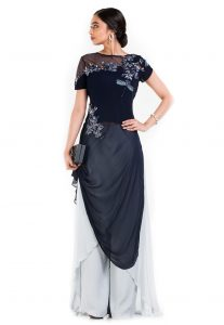 Hand Embroidered Georgette Cowl Style Tunic with Palazzo in Blue