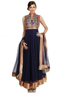 Hand Embroidered Net Abaya Style Suit in Navy Blue