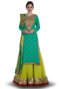 Hand Embroidered Net Circular Lehenga In Light Olive Green