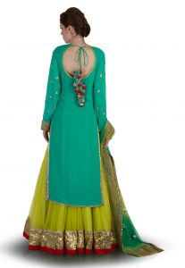 Hand Embroidered Net Circular Lehenga In Light Olive Green-Back