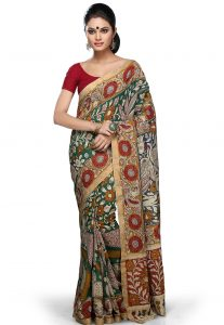 Red Kalamkari Print Saree