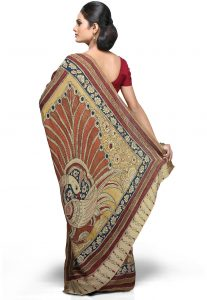 Hand Painted Pure Crepe Saree in Beige