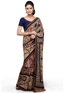Hand Painted Pure Crepe Saree in Multicolor