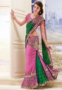 jacquard-lehenga-style-saree-with-blouse