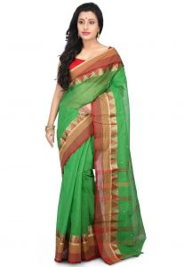 Woven Cotton Saree in Green