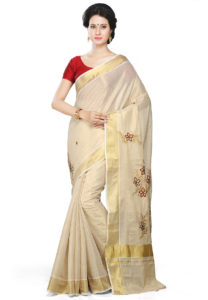 off-whiite-golden-border-saree