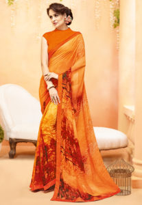 orange-printed-georgette-saree