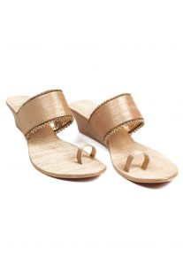 Plain Leather and Art Raw Silk Wedge Sandal in Golden
