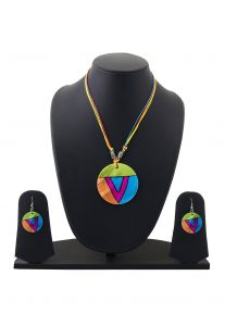 Hand Painted Pendant Set in Multicolor
