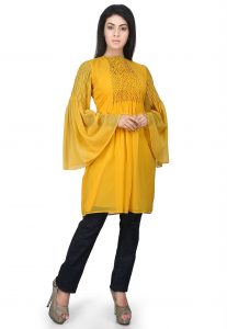 Quilted Georgette Tunic in Yellow