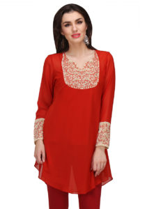 red-georgette-tunic
