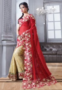 red-half-half-saree