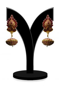 Stone Studded Jhumka Style Earring in Maroon and Golden