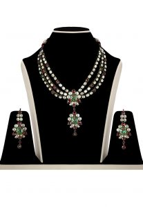 Polki Stone Studded Necklace Set