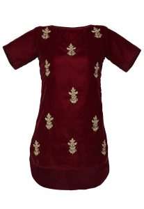 Embroidered Velvet Asymmetric Tunic In Maroon