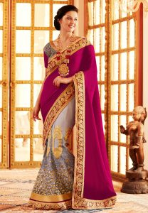 velvet-and-net-lehenga-style-saree-with-blouse