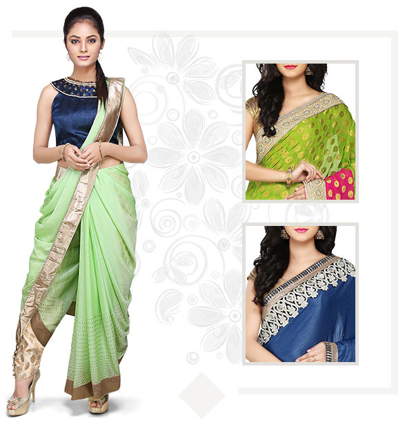 Plain, Printed, Bordered & Embellished Sarees to pair with your Blouse. Shop!