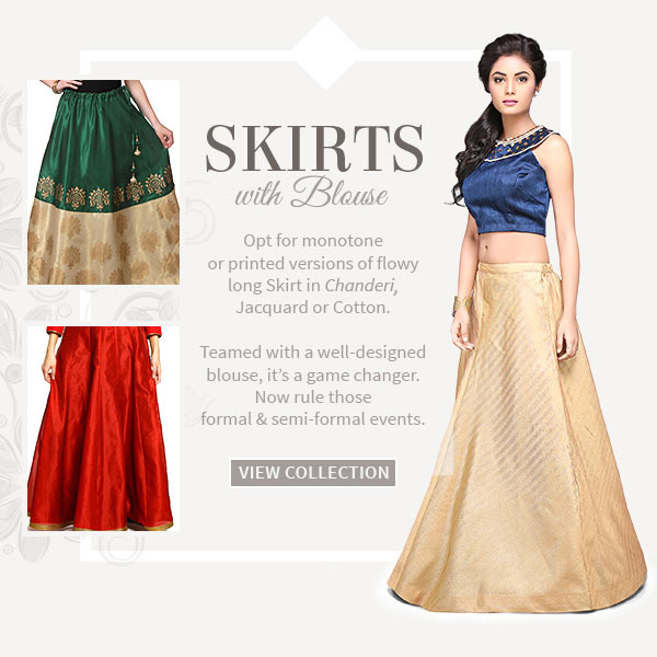Long Skirts in Chanderi, Jacquard or Cotton to be teamed with Designer Blouse. Shop!