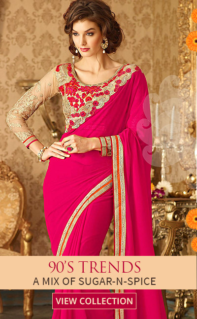 SS16 Trend of 90s in Plain Saree with Embroidered Blouses, Plain Suits with Dupattas. Shop!