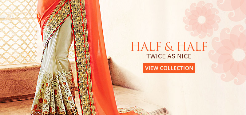 SS16 Trend of Half-n-Half in Sarees with 2 or more colors & fabrics. Shop!