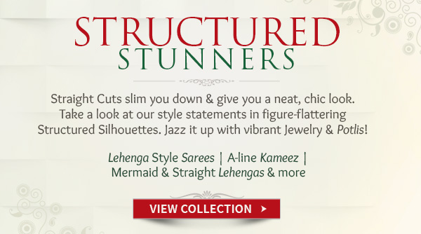 Structured Lehenga style Sarees, A-line Kameez & more with Accessories. Shop!